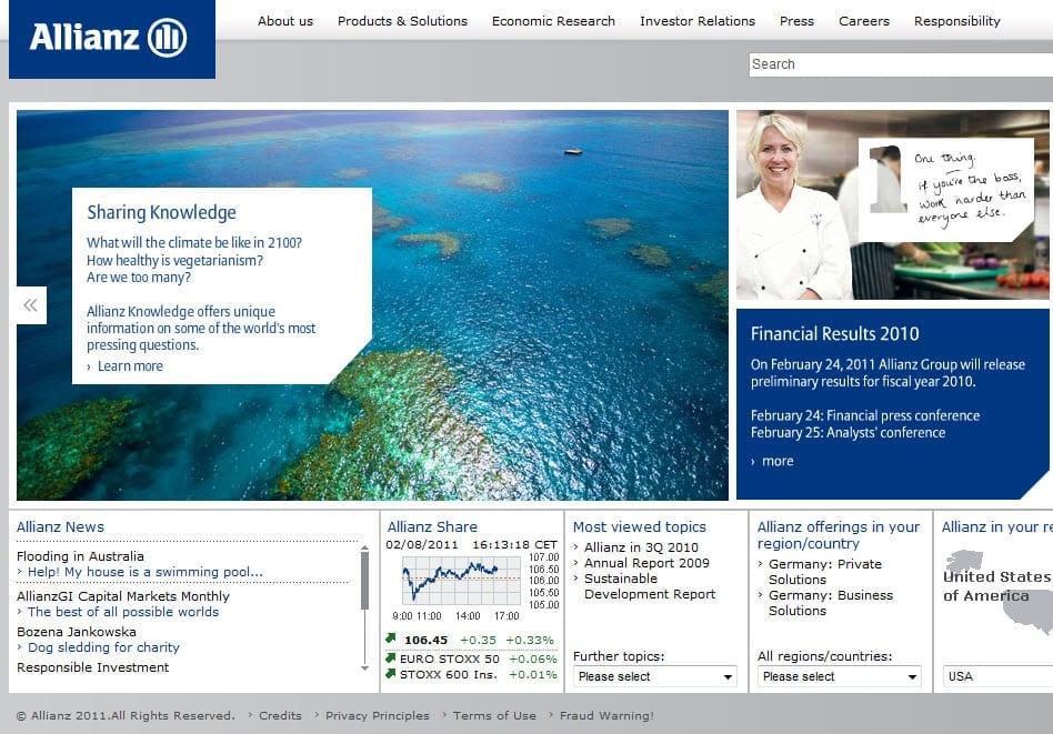Snap Shot of Allianz Website