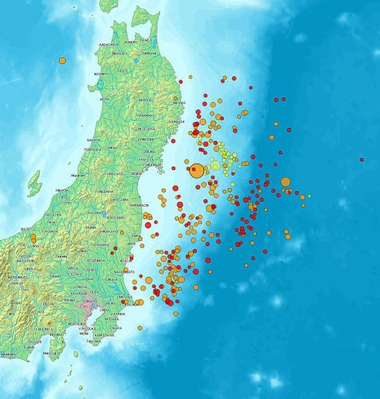 Map of Japan Showing Earthquake and Aftershock Activity