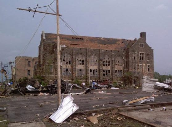Damage from storm to First Methodist Church