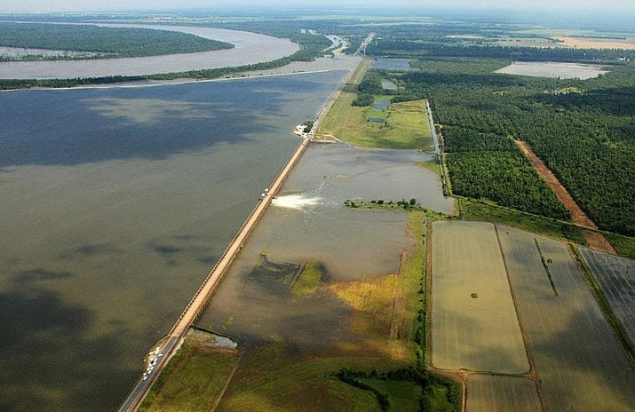 Gate being opened on the Morganza Floodway 2011