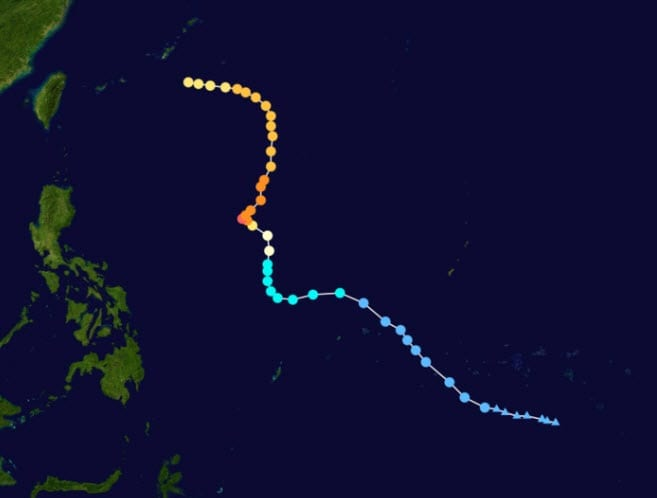 Path of Typhoon Muifa