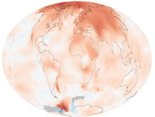 Global Warming Map Showing the Hottest Temperatures in the past decade