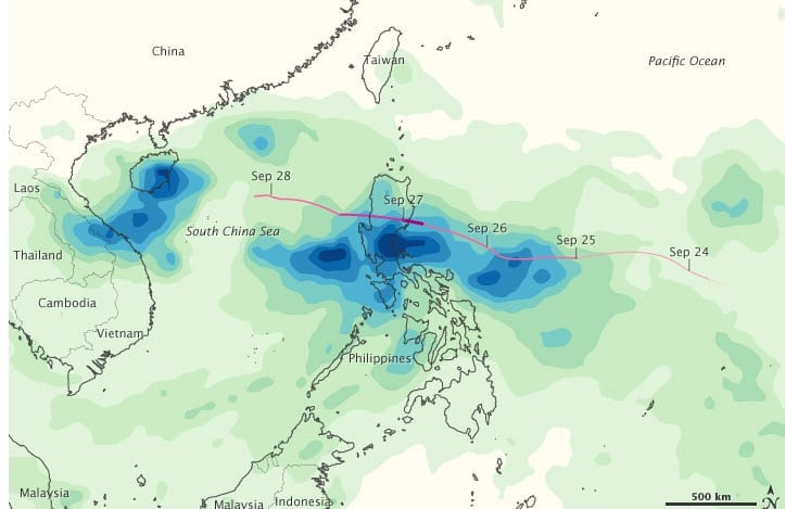 Rainfall Map of Typhoon Nesat