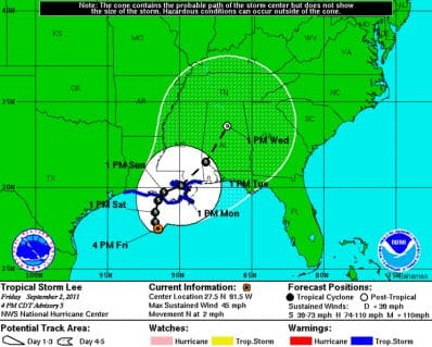Tropical Storm Lee Predicted Path