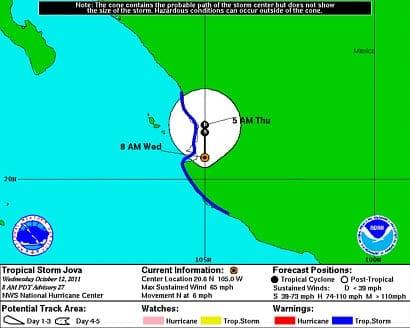 Hurricane Jova Predicted Path