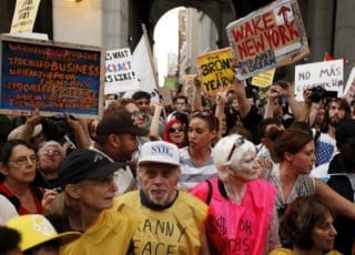 Occupy Wall Street Protestors outside Police Station