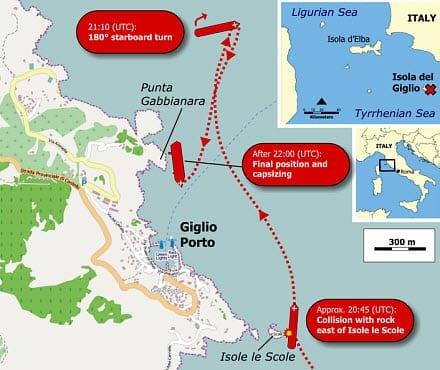 Collision Path of Costa Concordia