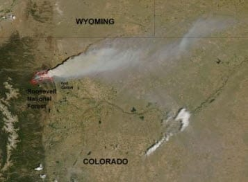 High Park Fire in Colorado satelite image