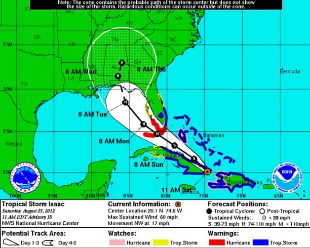 Tropical Storm Isaac News