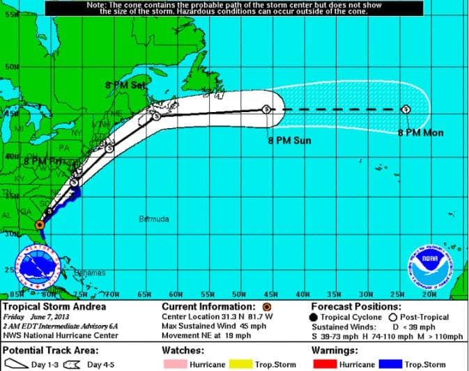 Tropical Storm Andrea as of June 7