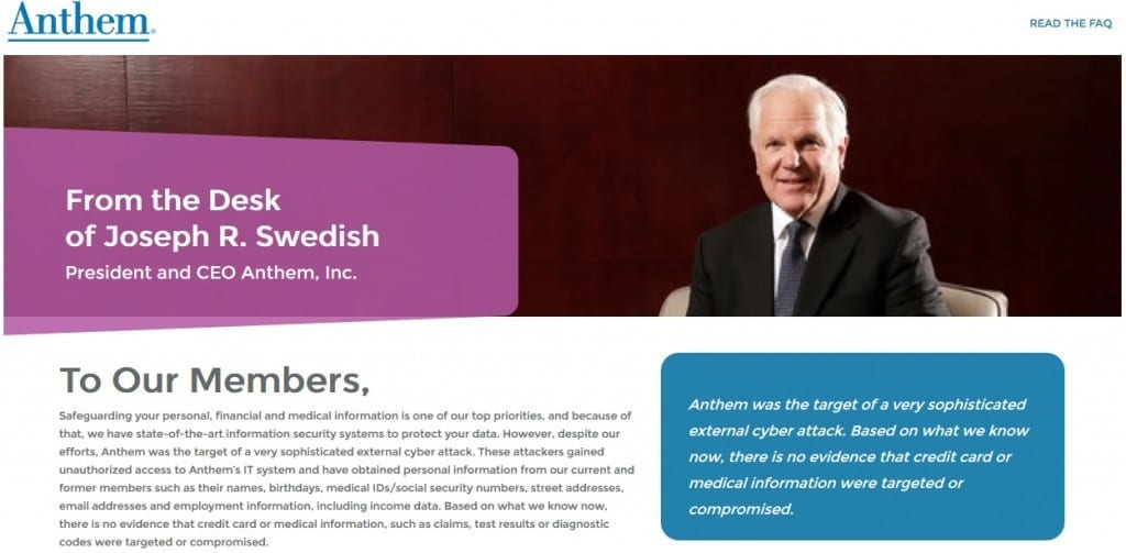 Anthem insurance company cyber attack letter screen cap