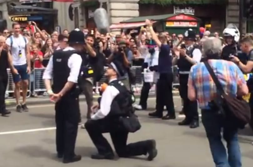 London Pride Police Proposal wedding insurance