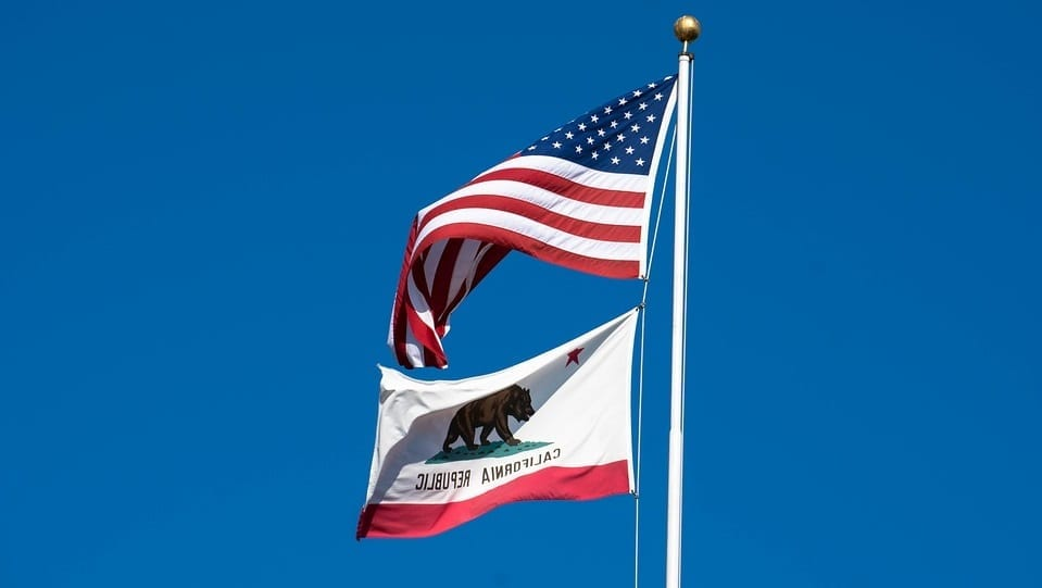 California health insurance premiums - American and Californian flag
