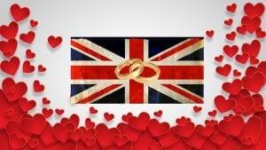 Royal Wedding Excitement - UK flag - wedding rings - hearts