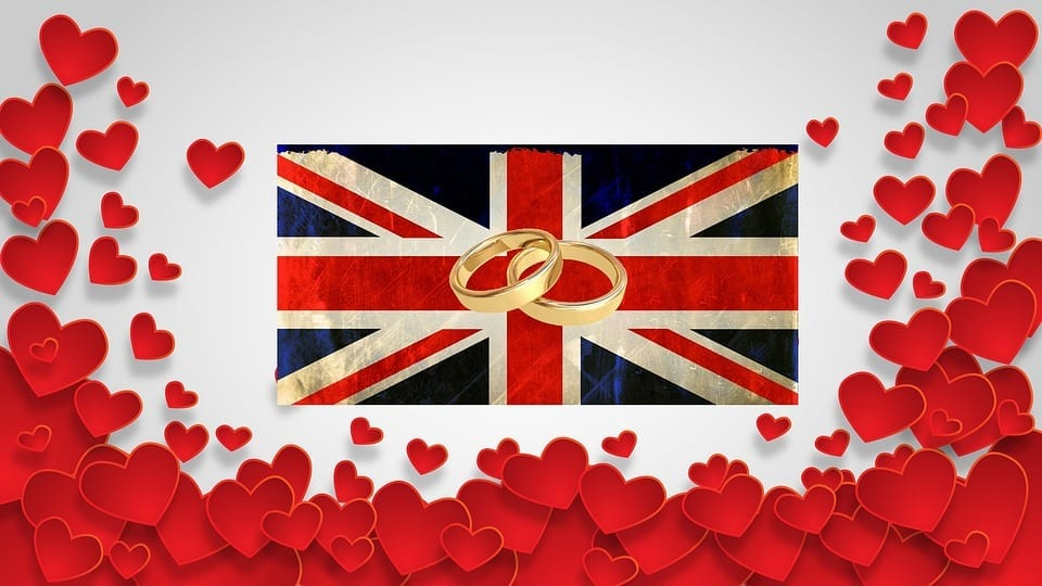 Royal Wedding Excitement - UK flag - wedding rings - hearts