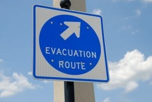 Homeowners insurance coverage - Evacuation Route - Sign