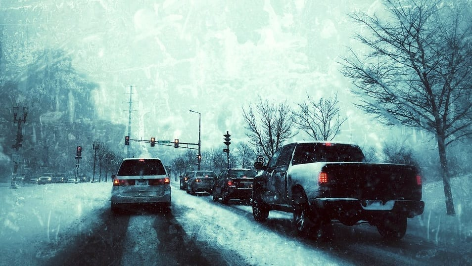 Safest cities to drive -n Cars on roads - snow