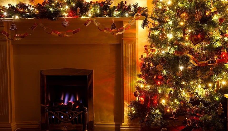Winter holiday season - Christmas tree and Christmas decorations