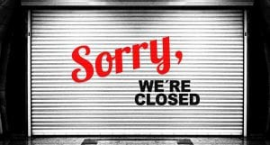 Government Shutdown - Sorry we're closed sign