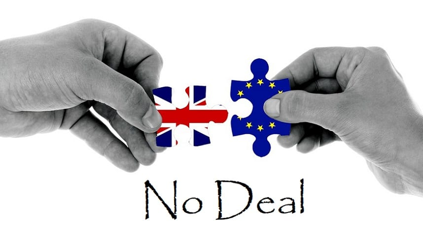 No-deal Brexit - UK and EU puzzle pieces