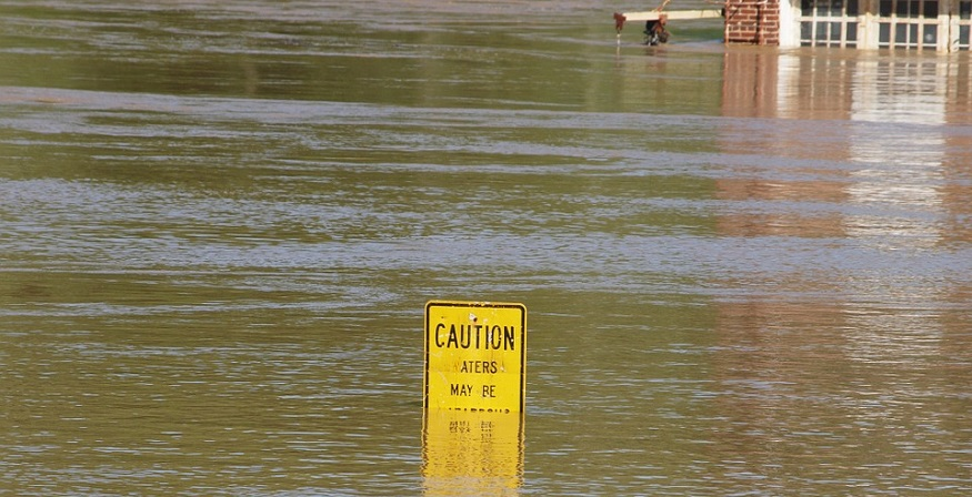 Buy Flood Insurance - Flood Waters - Caution sign