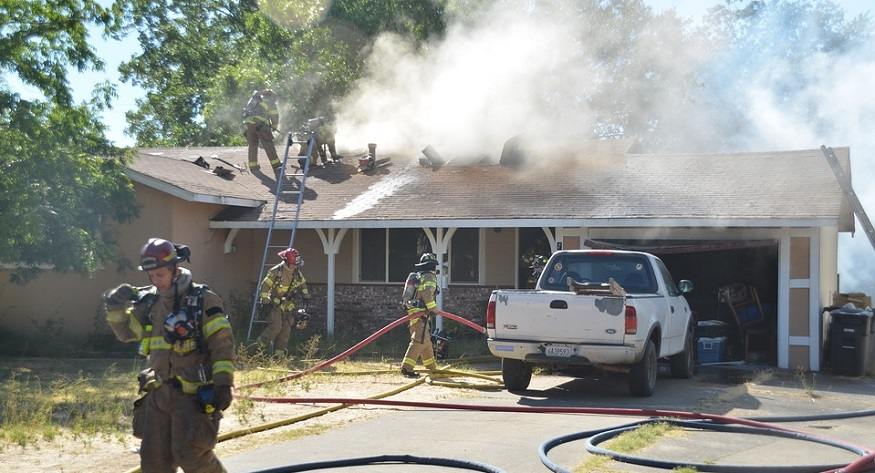 California Homeowners Insurance Policies - House Fire - Fire fighters