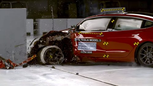 2019 Tesla Model 3 driver-side small overlap IIHS crash test YouTube