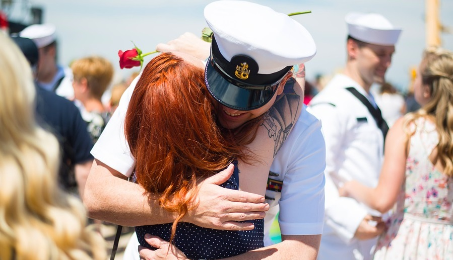 Military Friendly Employers - man and woman, veteran returning home