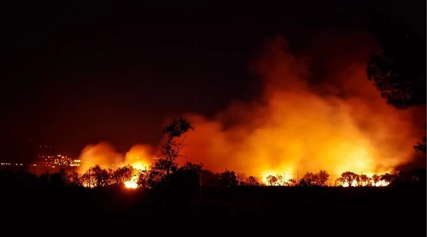 Climate Change risks - forest fire at night