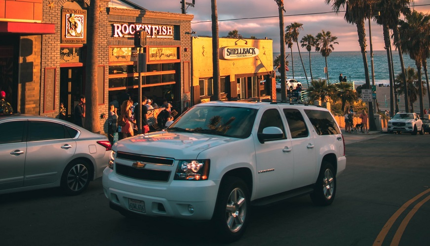 California auto insurance companies - Truck on road in California