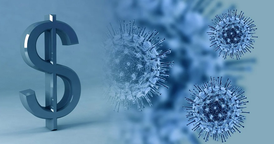 Coronavirus insurance payouts - dollar sign and virus