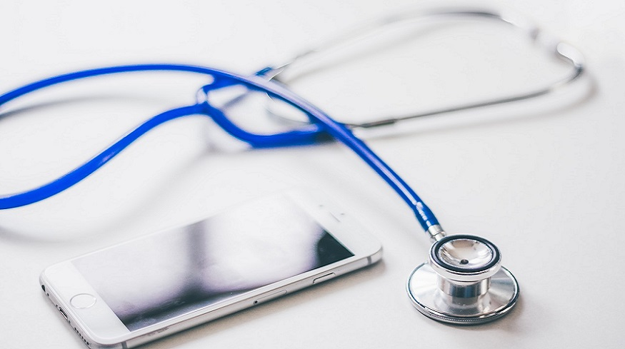 Telehealth insurance claims - mobile phone and stethoscope