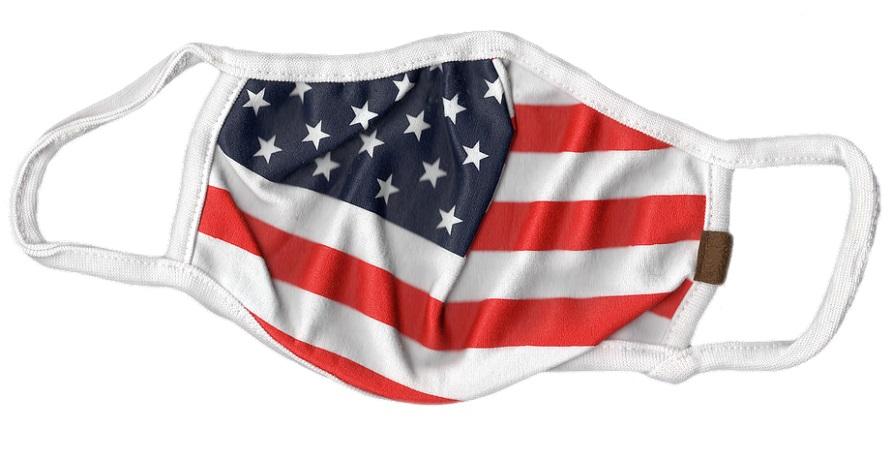 Health insurance plan enrollment - pandemic - American flag on face mask