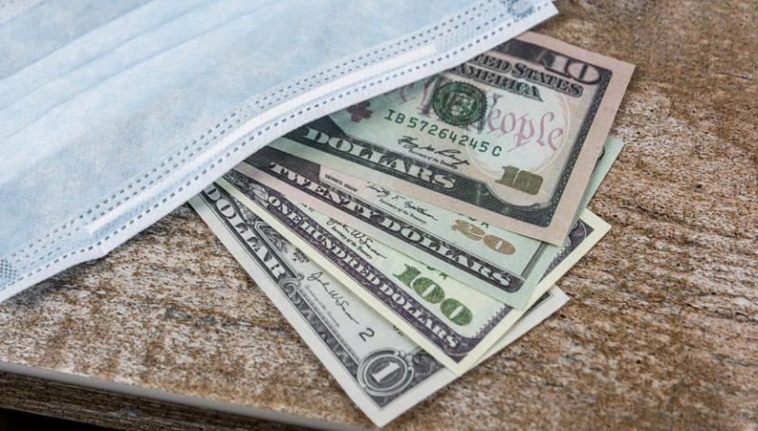 Coronavirus financial relief - mask and money