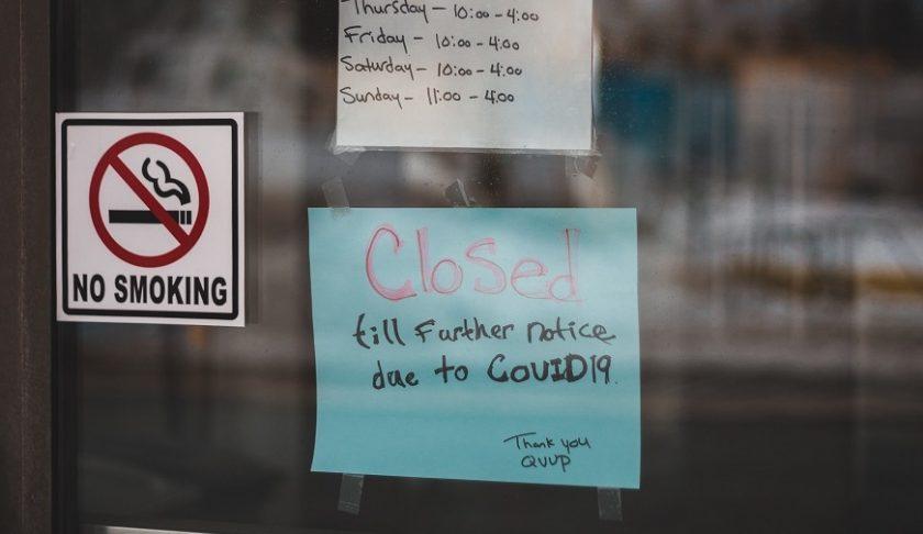 Insured pandemic losses - Store Closed Sign - COVID-19 lockdown