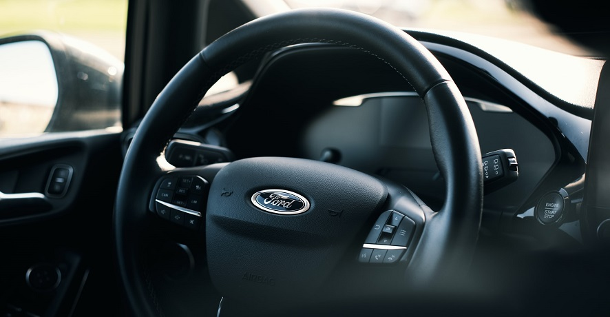 ADAS features - Ford logo on steering wheel