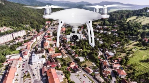 Insurance Company - Drone flying over buildings
