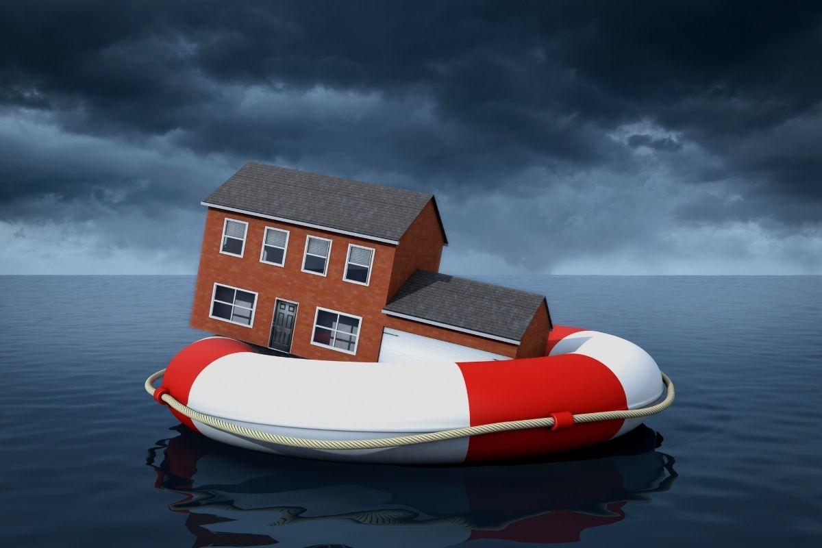 National Flood Insurance Program - home floating on life saver