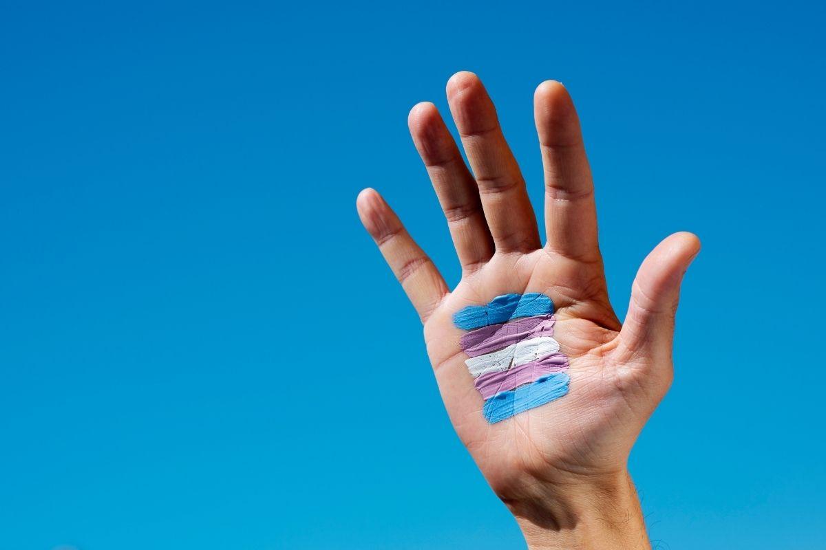 Transgender health insurance - hand with transgender flag