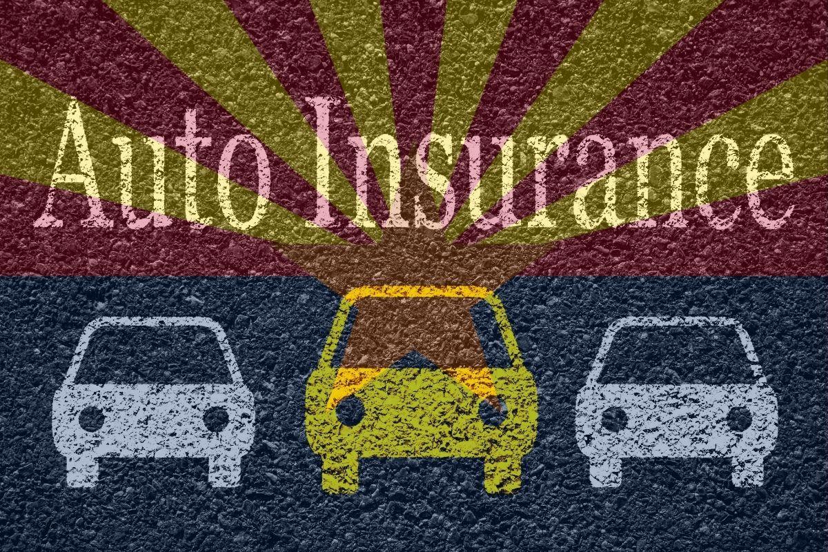 Arizona auto insurance - Arizona flag with cars