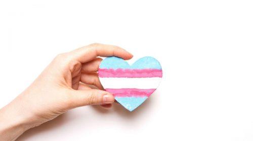 Health insurance coverage - transgender flag in shape of heart