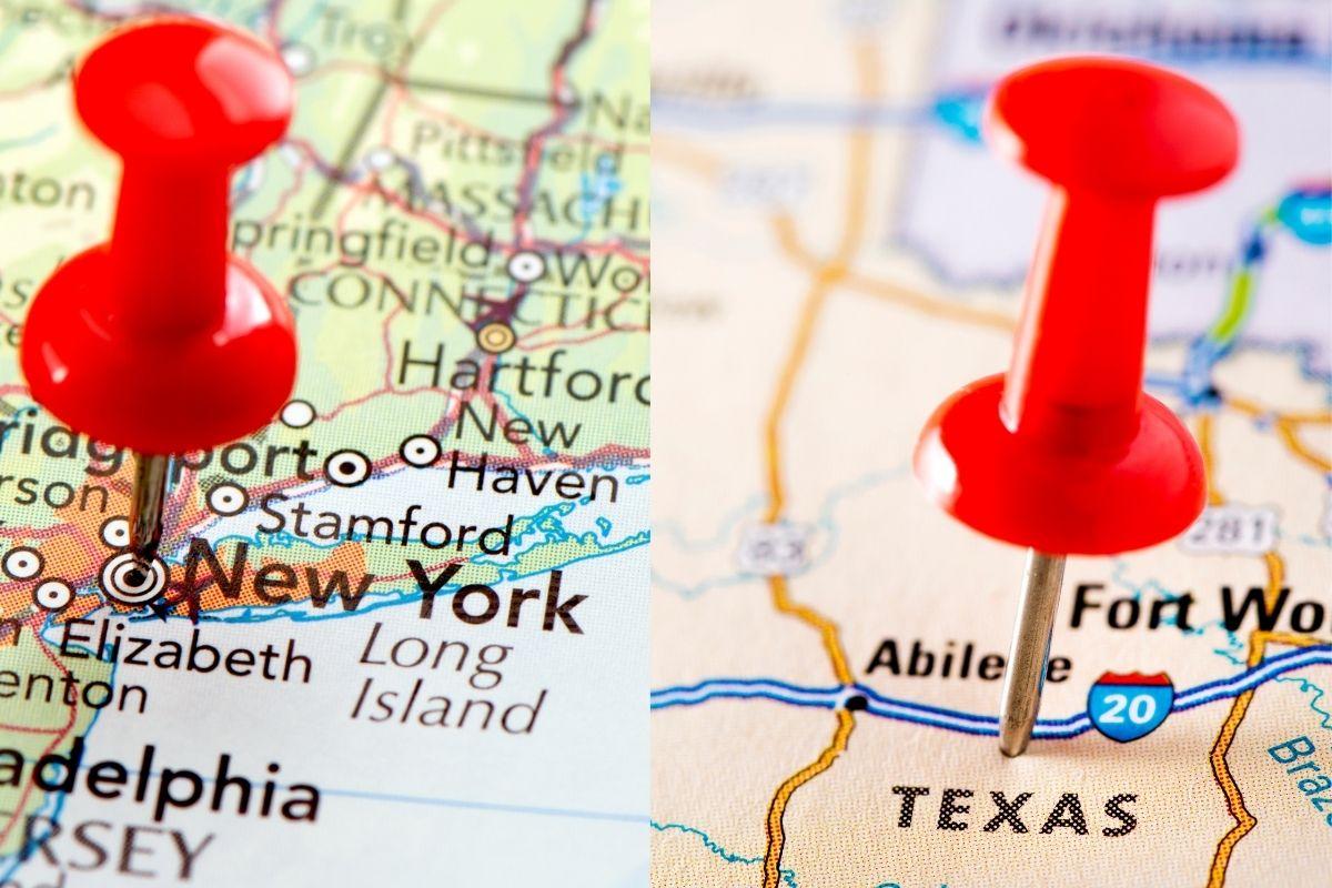 Tesla Insurance - New York and Texas Map